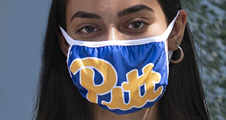 young woman wearing a Pitt face mask